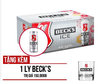 BECK'S ICE LON 330ML - THÙNG 24 PHIÊN BẢN TẾT TẶNG 1 LY BECK'S ICE 2019
