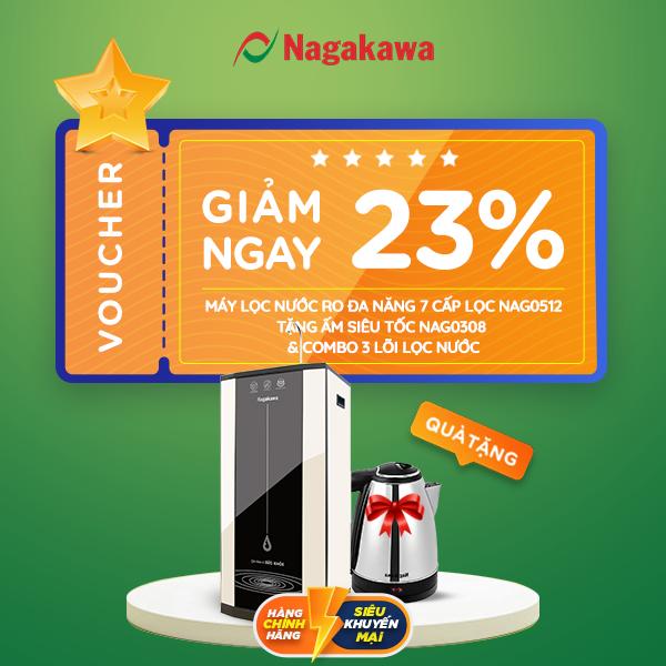Voucher trị giá giảm 4.790.000đ khi mua Máy lọc nước RO đa năng 7 cấp lọc Nagakawa NAG0512 - Tặng Ấm siêu tốc NAG0308 & Combo 3 lõi lọc nước tại shop.nagakawa.com.vn