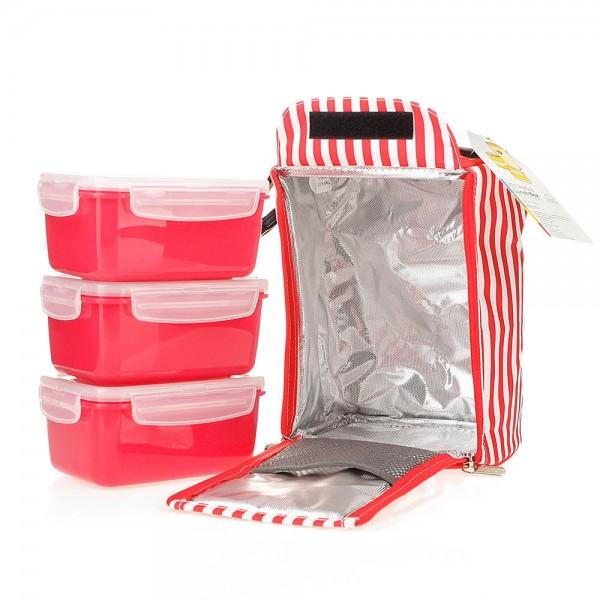 Bộ 3 hộp đựng cơm và túi giữ nhiệt Lock&Lock HAF101R3 630ml Đỏ