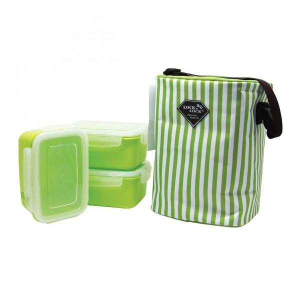 Bộ 3 hộp đựng cơm và túi giữ nhiệt Lock&Lock HAF101G3 630ml Xanh cốm