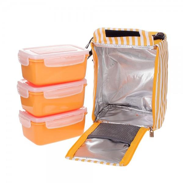 Bộ 3 hộp đựng cơm và túi giữ nhiệt Lock&Lock HAF101Y3 630ml  Vàng cam