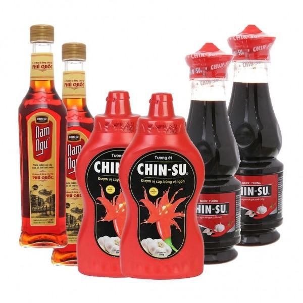 Combo 2 chai nước mắm nam ngư - tướng ớt chinsu - nước tương chinsu tỏi ớt