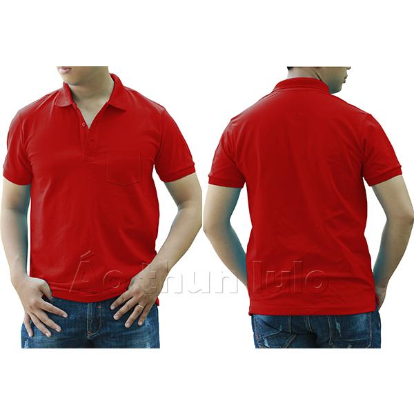 Áo thun cổ trụ có túi - Màu đỏ