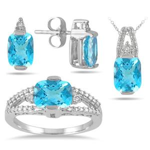 Bộ dây chuyền, nhẫn, hoa tai 5.75 Carat Genuine Swiss Blue Topaz and Diamond