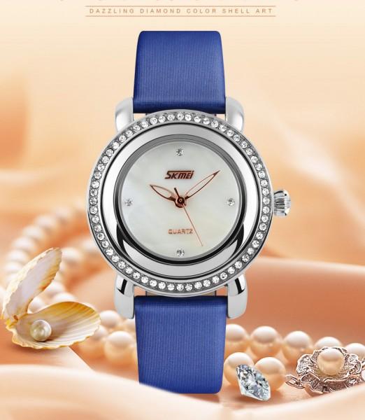 Đồng hồ nữ thời trang mặt gắn đá Skmei 35mm Xanh