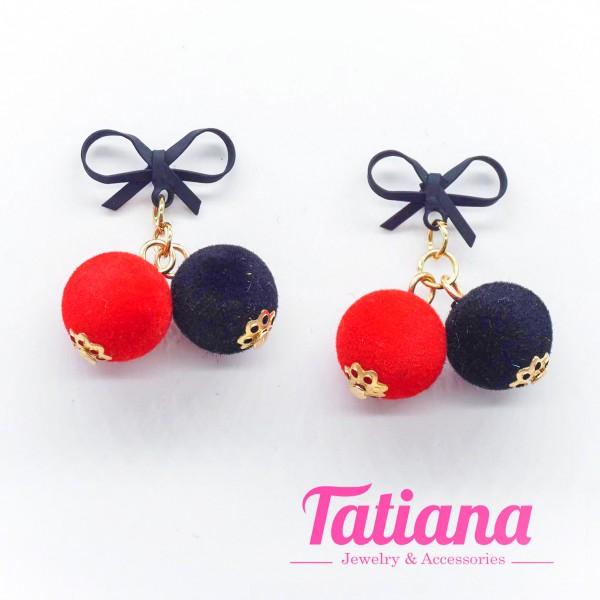 Bông Tai Nơ Đính Châu Nhung - Tatiana - BH3205