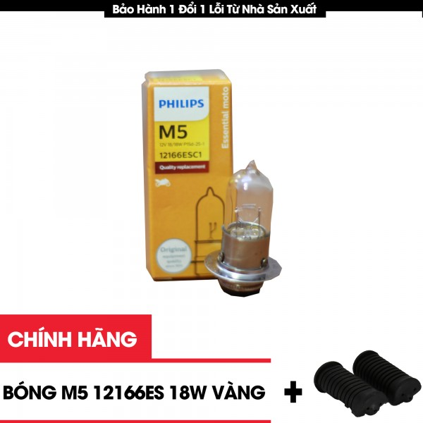 Bóng Đèn Halogen Xe Máy M5 121166ESC1 12v 18W Phillips Ánh Sáng Vàng Tặng Cao Su Để Chân Xe Máy