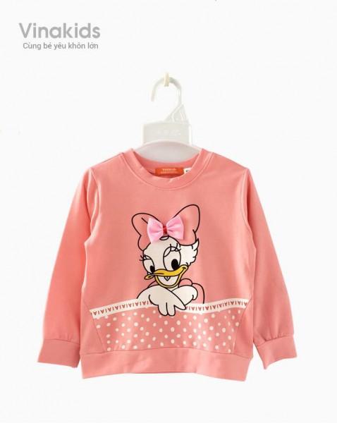 Áo bé gái dài tay hình vịt Donal màu hồng (2-8 tuổi)