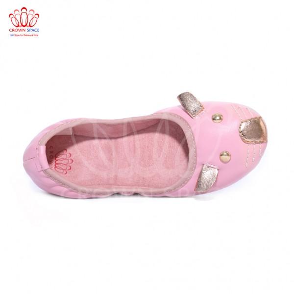 Giày búp bê bé gái Crown UK Princess Ballerina CRUK390 màu Hồng đậm