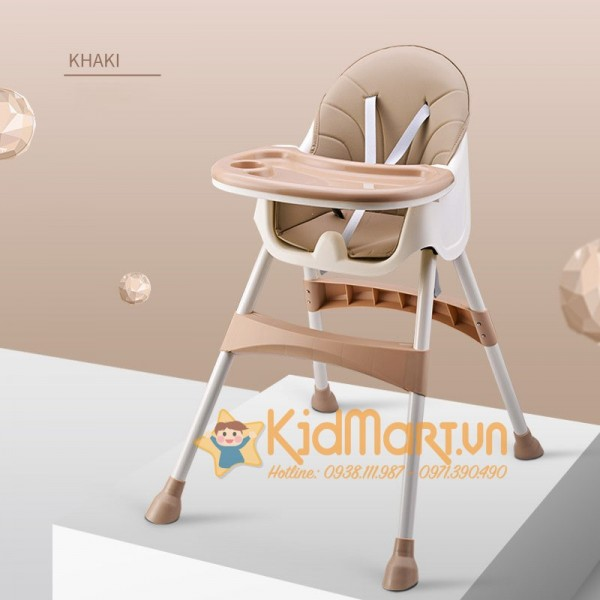 Ghế ăn dặm đa năng cao cấp mẫu 2019 Umoo - Nâu phong cách Hàn Quốc chính hãng điều chỉnh 3 nấc