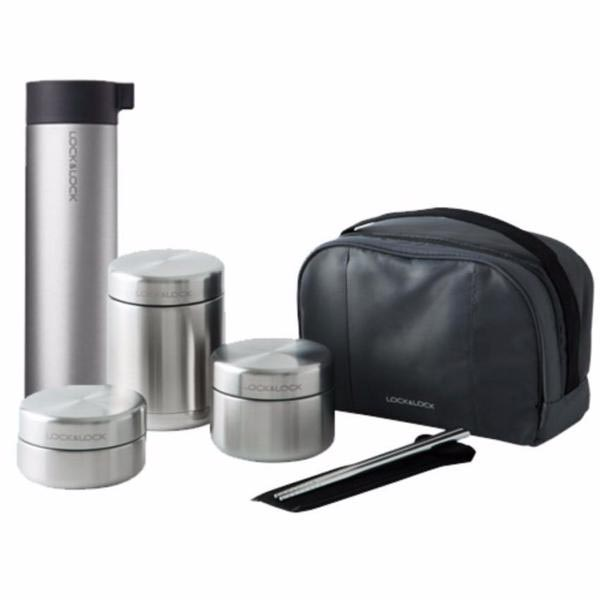 Bộ 3 hộp cơm Inox giữ nhiệt Lock&Lock LHC8016S01 Tặng Bình giữ nhiệt 400ml