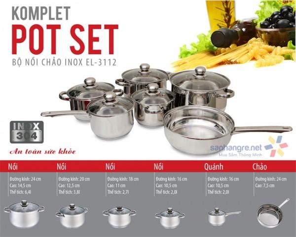 Bộ 5 nồi và chảo inox cao cấp Elmich Komplet EL3112 dùng bếp từ
