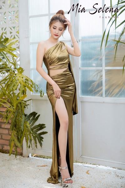 Đầm dạ hội Mia Selena thiết kế lệch vai tà dài xẻ đùi cực quyến rũ ( Đỏ đô- Xám-Vàng đồng )
