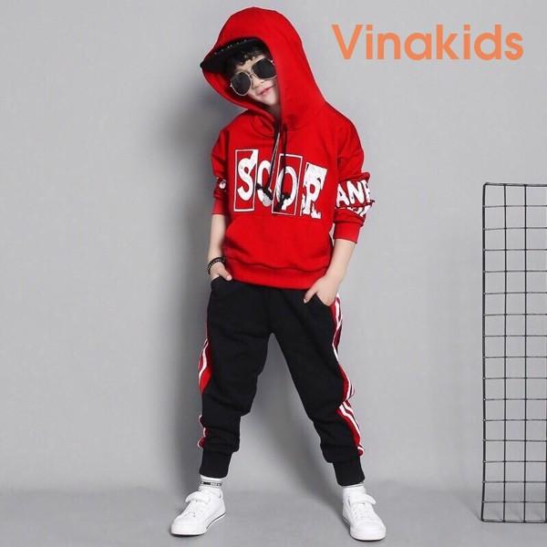 Đồ bộ thể thao Scor kiểu dáng Hip Hop màu đỏ (3-10 tuổi)