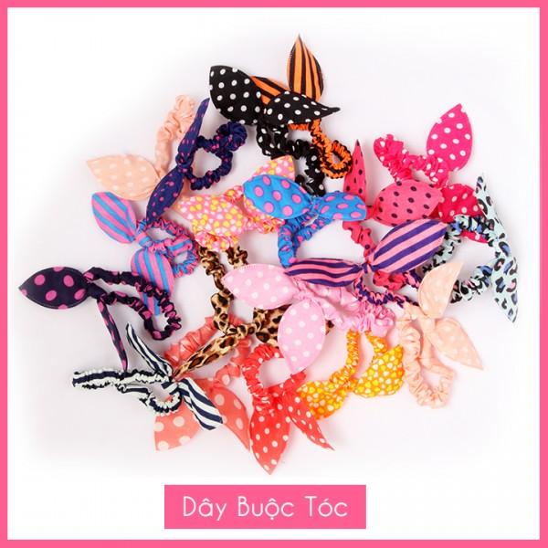 Combo 5 Dây buộc tóc tai thỏ nữ, họa tiết chấm bi, phong cách Hàn Quốc