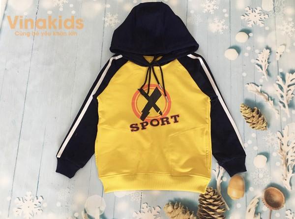 Áo bé trai Hoodie sport thời trang màu vàng (8-12 Tuổi)