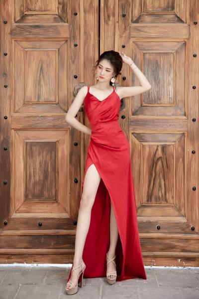 Đầm dạ hội Mia Selena thiết kế xẻ tà cực tôn dáng (Đỏ)
