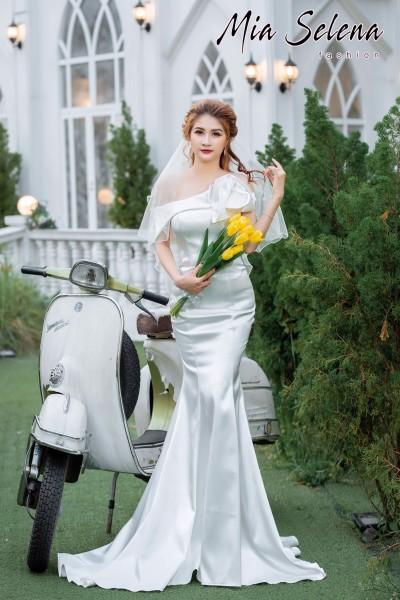 Đầm cưới Mia Selena thiết kế đuôi cá cực tôn dáng ( Trắng )