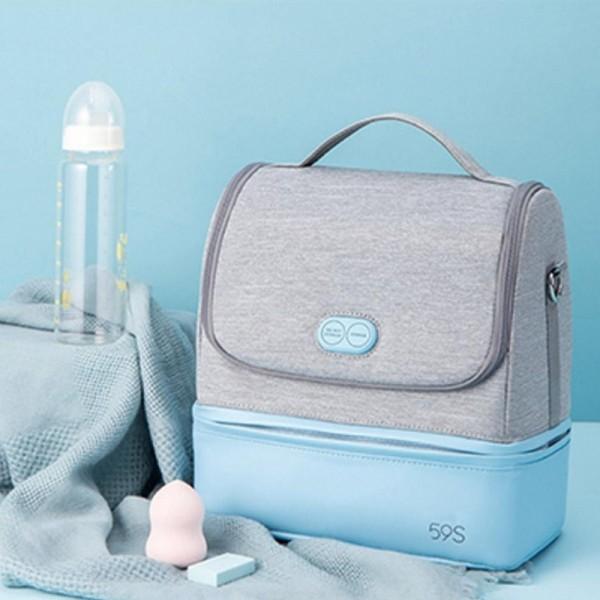 Balo bỉm sữa tiệt trùng cho mẹ và bé Mommy 59S - Xanh công nghệ khử trùng bằng tia cực tím