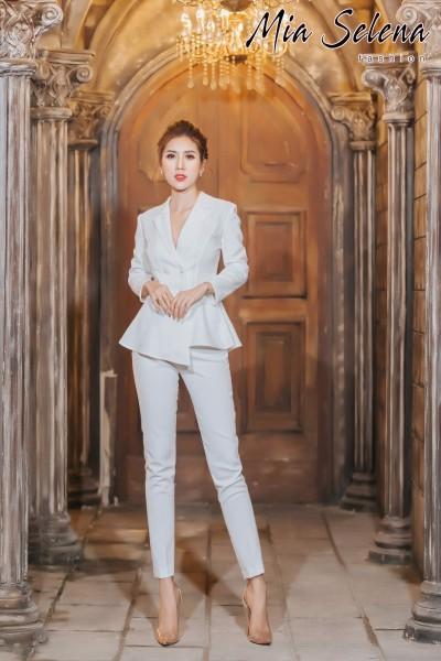 Bộ vest Mia Selena thiết kế 4 nút bọc eo xòe (Trắng - Vàng - Đỏ -Đen)