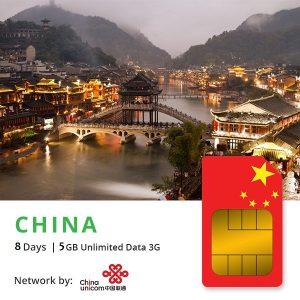 Sim du lịch Trung Quốc & Hongkong 8 ngày – 5GB 4G
