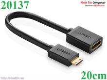 Cáp nối dài mini HDMI to HDMI dài 20cm chính hãng Ugreen UG-20137