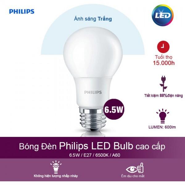 Bóng đèn Philips Ledbulb 6.5W  Ánh sáng trắng