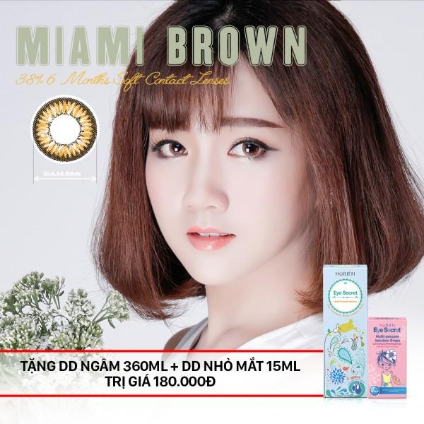 Combo Kính áp tròng dùng 6 tháng Eye Secret màu Miami Brown + dung dịch ngâm 360ml + nhỏ mắt
