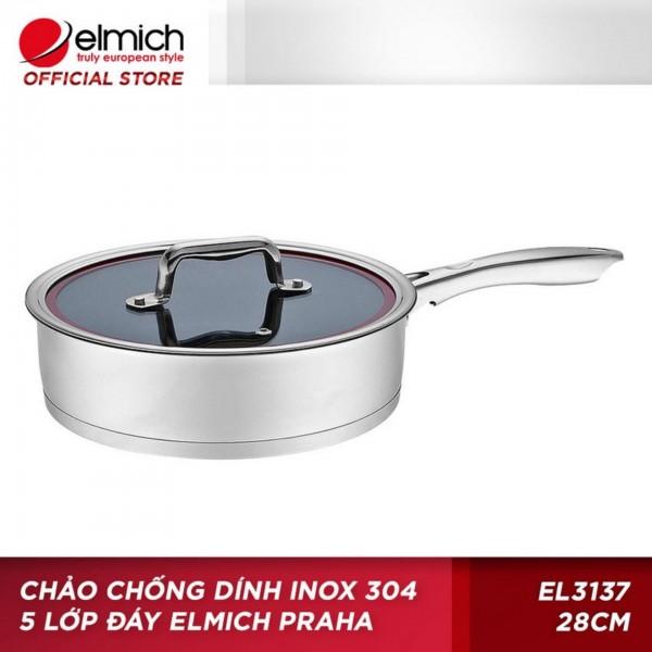 Chảo chống dính inox 5 lớp đáy Elmich 28cm (Bạc)