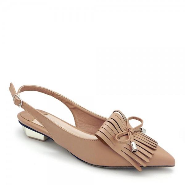Giày búp bê mũi nhọn Carlo Rino 33320-A009-25 màu nâu nhạt