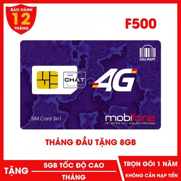 SIM Trọn Gói 1 Năm 4G Mobifone F500 Tặng 5GB/Tháng
