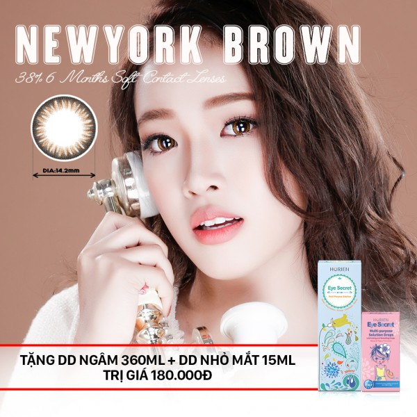 Combo Kính áp tròng dùng 6 tháng Eye Secret màu Newyork Brown + dung dịch ngâm 360ml + nhỏ mắt