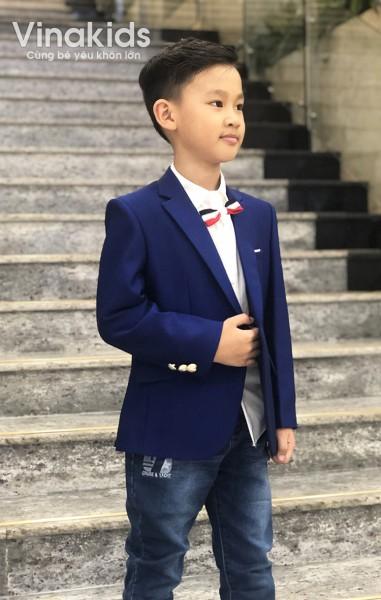 Áo vest bé trai cao cấp màu xanh (1-6 tuổi)