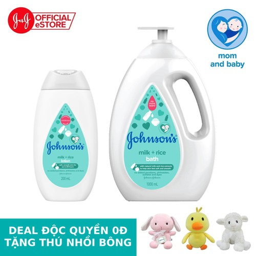 Bộ sữa tắm 1000ml & sữa dưỡng ẩm sữa và gạo 200ml Johnson's - 540017255