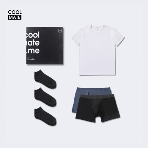 Trial Box tủ đồ tiết kiệm cho nam giới gồm 1 áo thun, 2 quần lót boxer và 3 đôi tất ngắn thương hiệu Coolmate - BOX DÙNG THỬ ON-WHITE