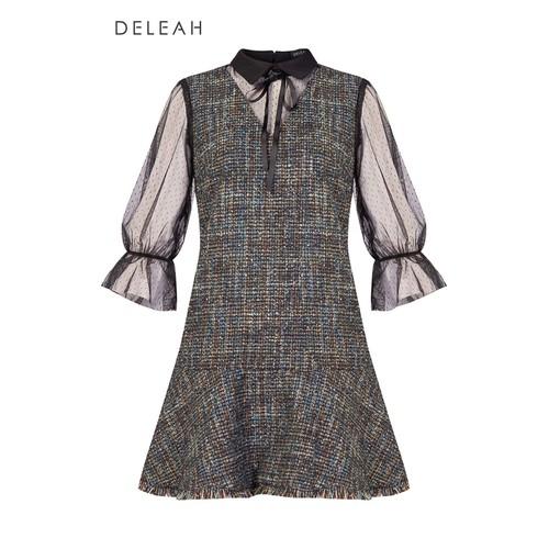 De Leah - Đầm Suông Tweed Pha Ren Lưới - Thời trang thiết kế - VL1821112Xdx